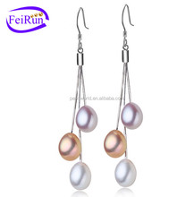 7-8mm AAA 925 sterling silver real freshwater pearl earring