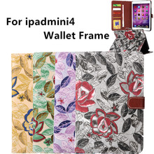 for ipad mini4 tablet cover apple MINI 4 fashion case 7.9 inch tablet pc cases wallet frame flip