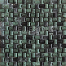 Solid dark green mosaic tile, 3D mosaic design