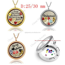 high quality 316L stainless steel floating locket from original manufacturer