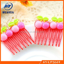 Child baby hair accessory acrylic hair comb cherry fork comb