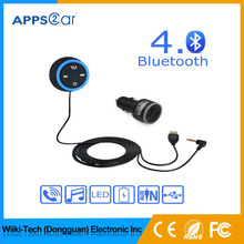 Bluetooth Car Kit, Bluetooth 4.0 Car Adapter Hands-Free Calling with Dual 2.1A USB Charger