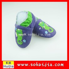 Japan wholesale high quality blue and green funny animal cow leather embroidered second hand shoes for baby