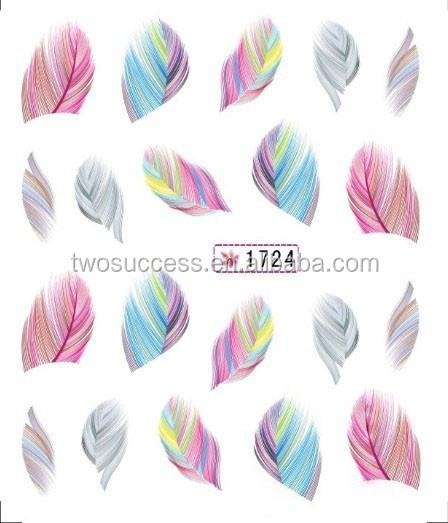 Nail Sticker Feather Watermark UV Gel Nail Polish Sticker Korea Designed Nail Art Decal Sticker (2)
