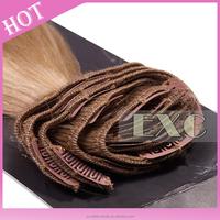 Cheap long curly 100% human hair clip in hair extension