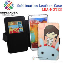 Blank Sublimation wallet leather case for samsung galaxy note 3