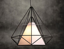 black color iron vintage lighting light triangular metal pendant lamp
