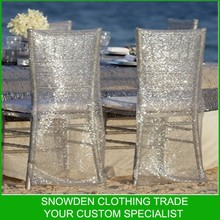 Silver Transparent Sequin Chair Back Cover