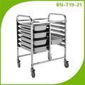 Bn-t19 capas carro de acero stianless carro bandeja para la panadería de la tienda
