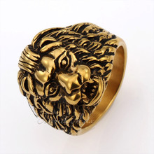 Trendsmax Mens Boys Yellow Gold Tone Lion King Ring 316L Stainless Steel Ring