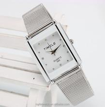 2015 custom logo mesh band vogue fashion silver women square watch