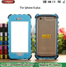 shockproof silicone + hard plastic combination for iphone 6plus case waterproof silicone case for iphone6 plus