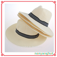 Hot Sale New Design Men grey/white sun polyester panama fedora Straw Hat