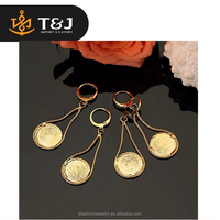 2015 new design fashion drop earrings vintage real 18k yellow gold plated classic dangle earrings