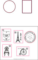 2016 New designed vintage postage stamp clear stamp and cutting die set for paper scrapbook