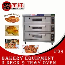 Shentop F39 3 layers 6 trays commercial bakery equipment used industrial pizza oven for sale electric tandoor oven