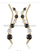 The Ear Pin Cubic Zirconia Black and Clear Sterling Silver ear pin earrings