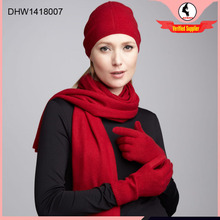 High quality fashion style scarf gloves and hat sets flis