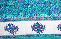 100% cotton bed cover features traditional hand block printed floral design