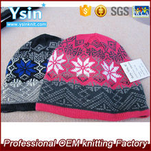 High quality mens color beanie hat/knit hat/winter hat with jacquard