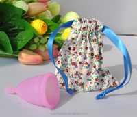 Female period used 100% platium silicone medical FDA and CE Approved Reusable Blue Menstrual cup