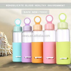 hot sell hand-held glass water bottle with silicone strap