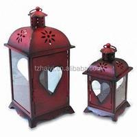High Quality set metal glass lanterns decoration LED Lanterns