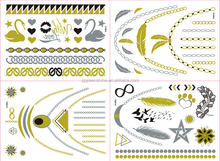 2015 Fashionable Beauty water transfer customized gold tattoo supply, metallic temporary tattoo