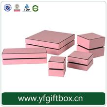 2015 hot new product elegant design pink jewelry box set paper cardboard jewelry box
