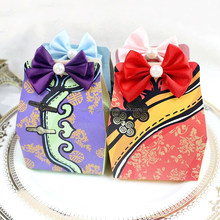 BC015- Special lovely Chinese style wedding candy box with bowknot and pearl