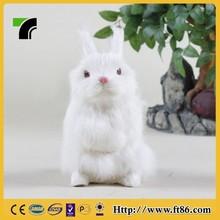 new lovely novelty realistic stuffed animal white furry rabbit figurine