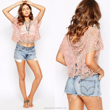Hot sales new fashion woman top, latest design girls top, beach wear red lace crop top plain