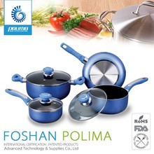 7pcs polished Aluminium Non Stick cookware set with removable handle