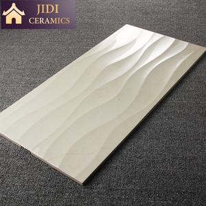 إيطاليا تصميم 30x60 بيج اللون السيراميك جدار البلاط للحمام ، 3d موجة سطح بلاط الحمام