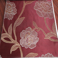 Good selling Arabic style red color yarn dyed jacquard floral curtain fabric for home