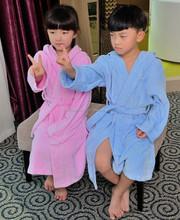Warm heavy cotton velour with hooded children home bathrobes
