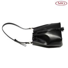Hot Sale Women's Fashion Genuine Cow Leather Drawstring Bucket Tote Shoulder Handbag