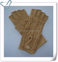 Ladies Acrylic Knit Half Finger Gloves With Cable Design & Button