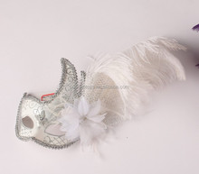 Best Selling Fancy Silver Feather Venice Mask With Smart Decorations