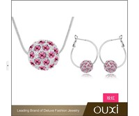 Rhodium Plated Silver Jewelry Sets Made with Austrian Crystal S-2024