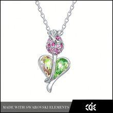 cde colgante de jade verde roto el corazón colgante flor color de rosa en forma de joyas