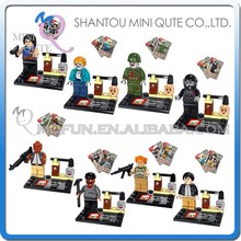 Mini Qute JX 8pcs/set Movie characters The Walking Dead American boys building blocks action figures educational toy NO.1005