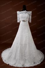 Spanish Style Wedding Dresses With jacket Real sample Pure White Lace Aline Wedding Dress 2015