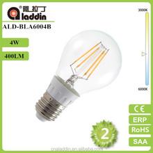 wholesale 10pcs A60 4w edison filament led bulb e27 110v220v 360 degree emitting light led lamp 2years warranty