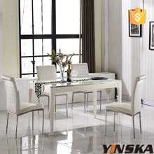 High gloss 8 seaters rectangular dining room table, glass top