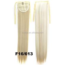 Most Popular Blonde Hair Drawstring Ponytail , Synthetic Blue Hair Ponytail Holder