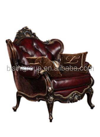 Noble clásico francés de madera maciza sofá de tres asientos ...