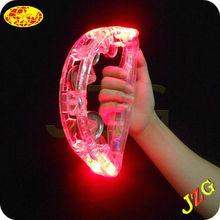 Wholesale tambourine party favors logo printed led tambourine music instrument toy plastic flashing glow tambourine