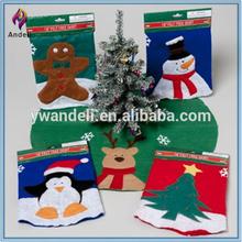 El árbol de navidad falda con apliques de fieltro- muñeco de nieve, de hombre de jengibre, santa, el árbol de navidad, renos