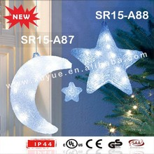 Acrylic outdoor hanging LED Christmas star and moon